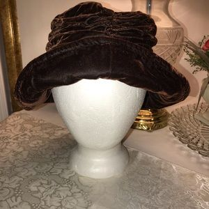 Vintage Velvet Ruched Hat, Made in Korea